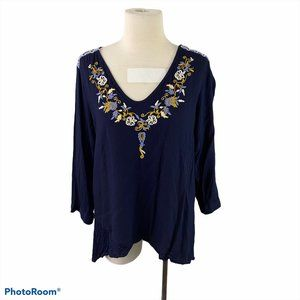 ANTILIA FEMME Blue Shirt with Floral Embroidery